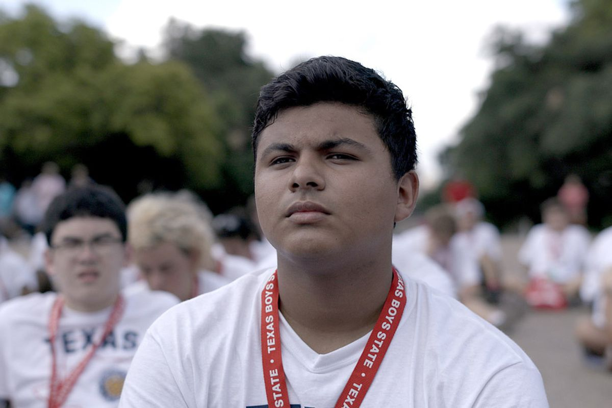 Boys State competitor Steven Garza squints seriously at the camera.