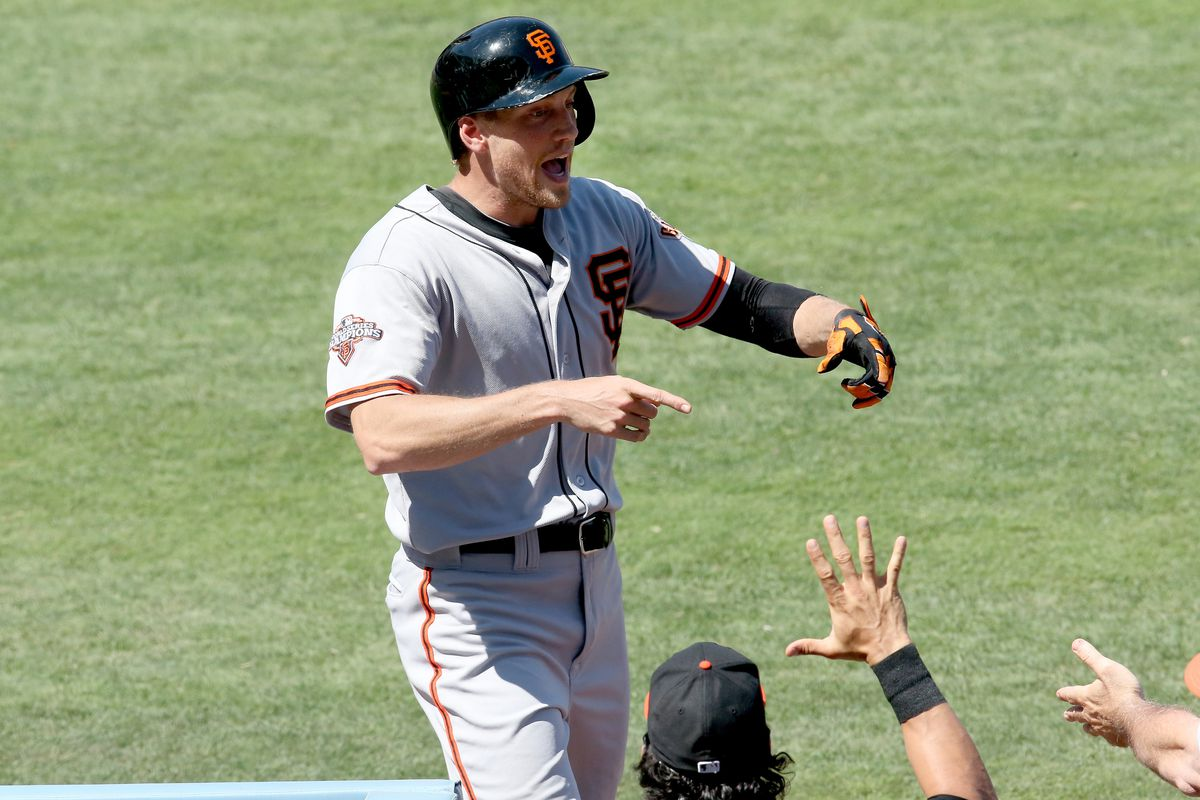Pictured: Hunter Pence's supersonic mating ritual attracts the hand of Angel Pagan