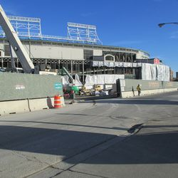 View through the Clark Street gate, new scaffolding and covers -