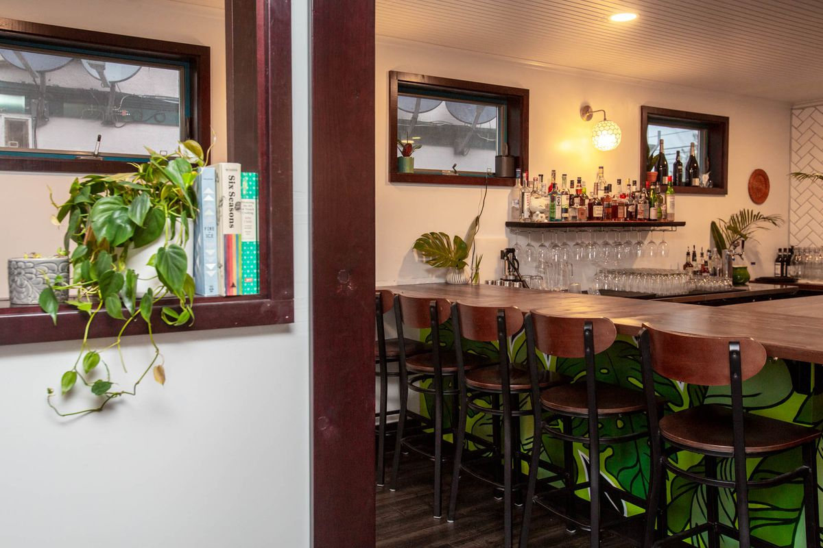 A view of the bar with a green, leafy mural near the bottom.