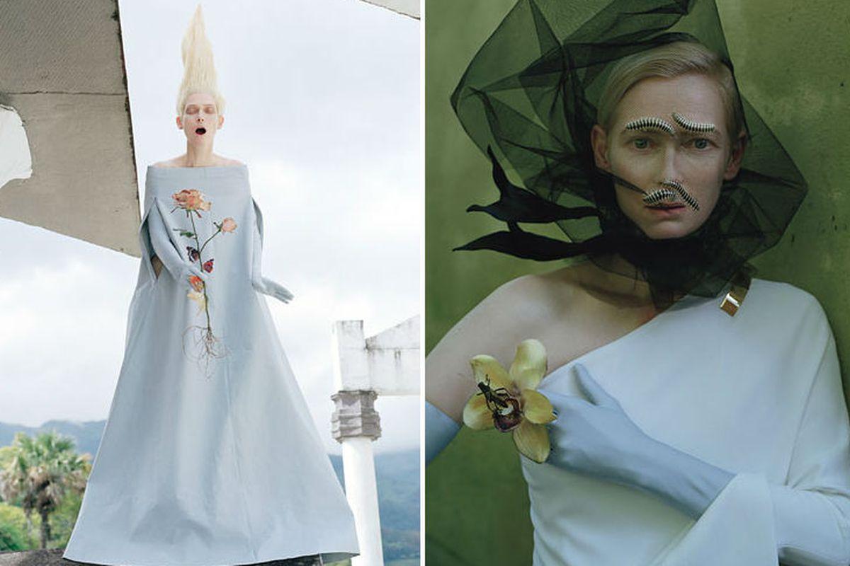 "Images via Tim Walker at <a href=""http://www.wmagazine.com/celebrities/2013/05/tilda-swinton-tim-walker-las-pozas-cover-story-ss#slide=14"">W</a>"