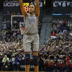UConn's Azura Stevens (23) attempts a three-pointer during the Notre Dame Fighting Irish vs UConn Huskies women's college basketball game in the Women's Jimmy V Classic at the XL Center in Hartford, CT on December 3, 2017.