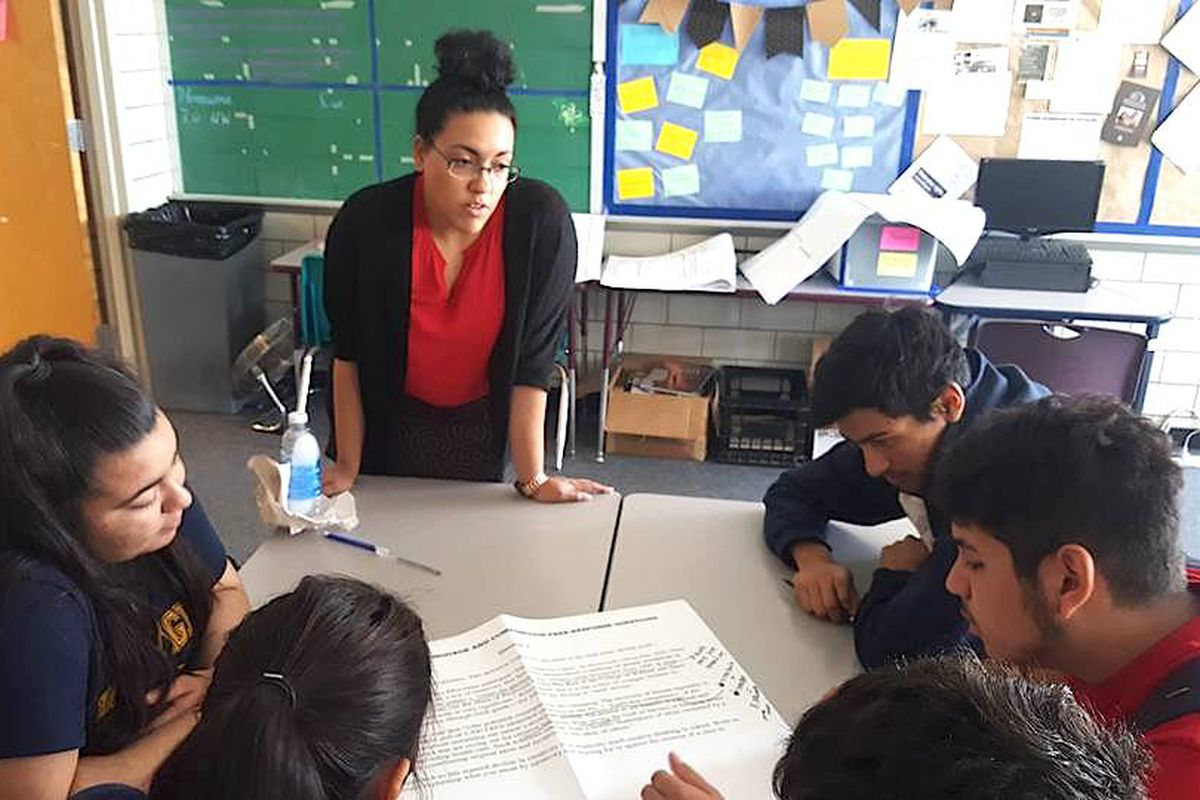 Ashley Farris, an AP English teacher at KIPP Denver Collegiate High School, with her students.