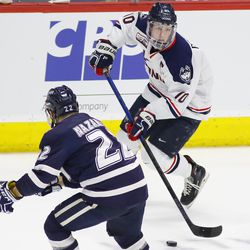 The New Hampshire Wildcats take on the UConn Huskies in a men's college hockey game at the XL Center in Hartford, CT on January 25, 2019.