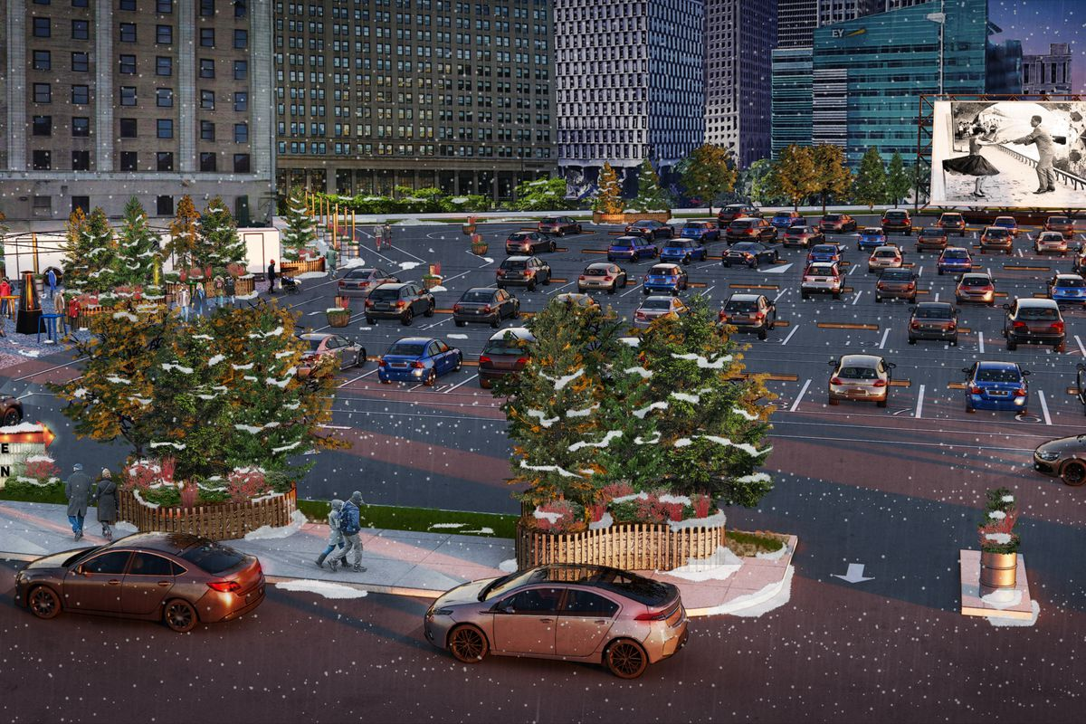 A rendering of cars parking at the Monroe Street Drive-in theater in downtown Detroit on a snowy day.