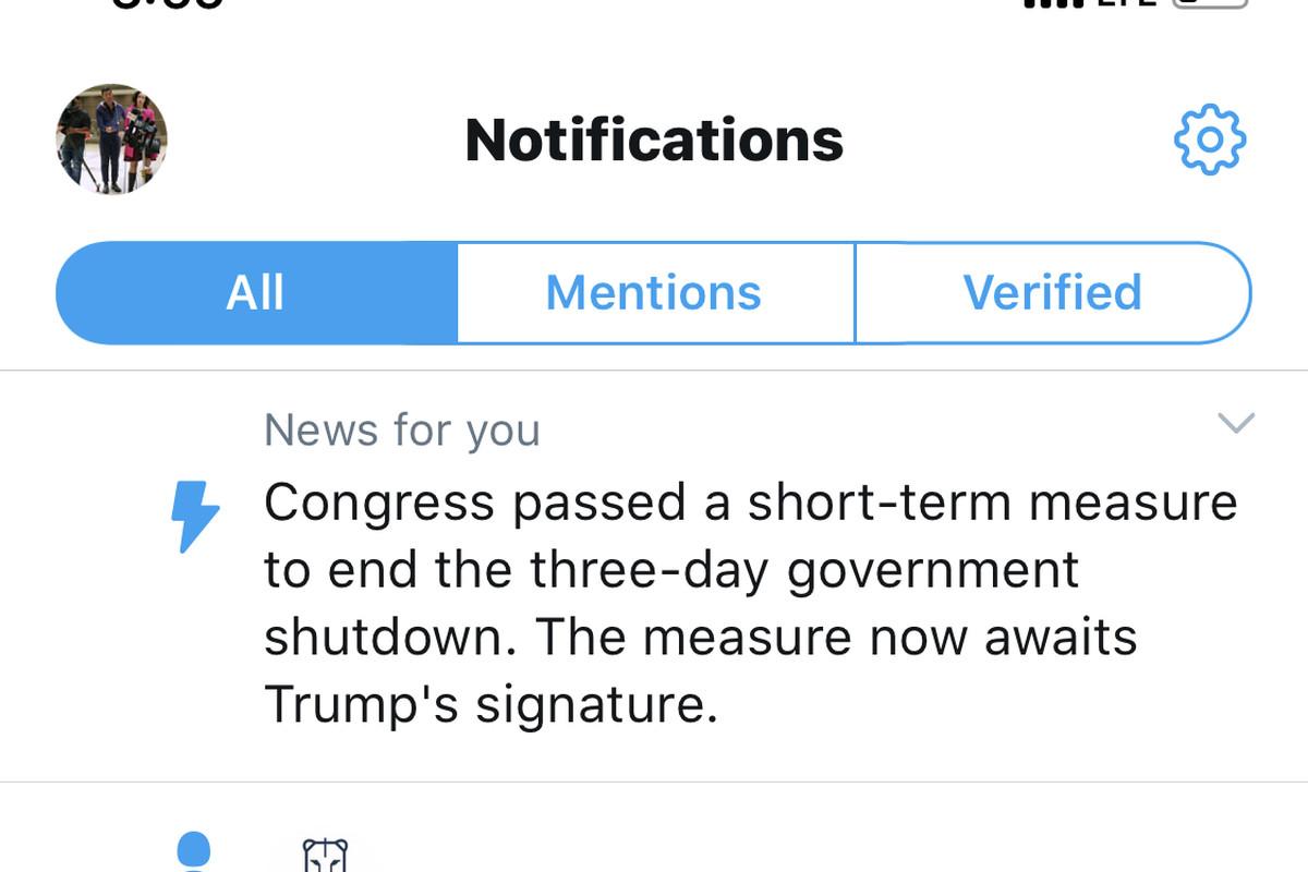 Twitter news alert