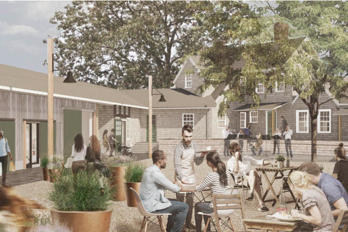A rendering shows a wooden building with small shops and a courtyard with tables and chairs, with people meandering about and sitting down