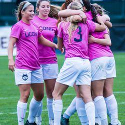 UConn women's soccer celebrates a goal