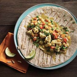 Wraps range from cold Marinated Artichoke Wraps and Mushroom Collard Wraps to hot wraps, like the BBQ Wrap and the Curried Vegetable Wrap ($6 to $8)