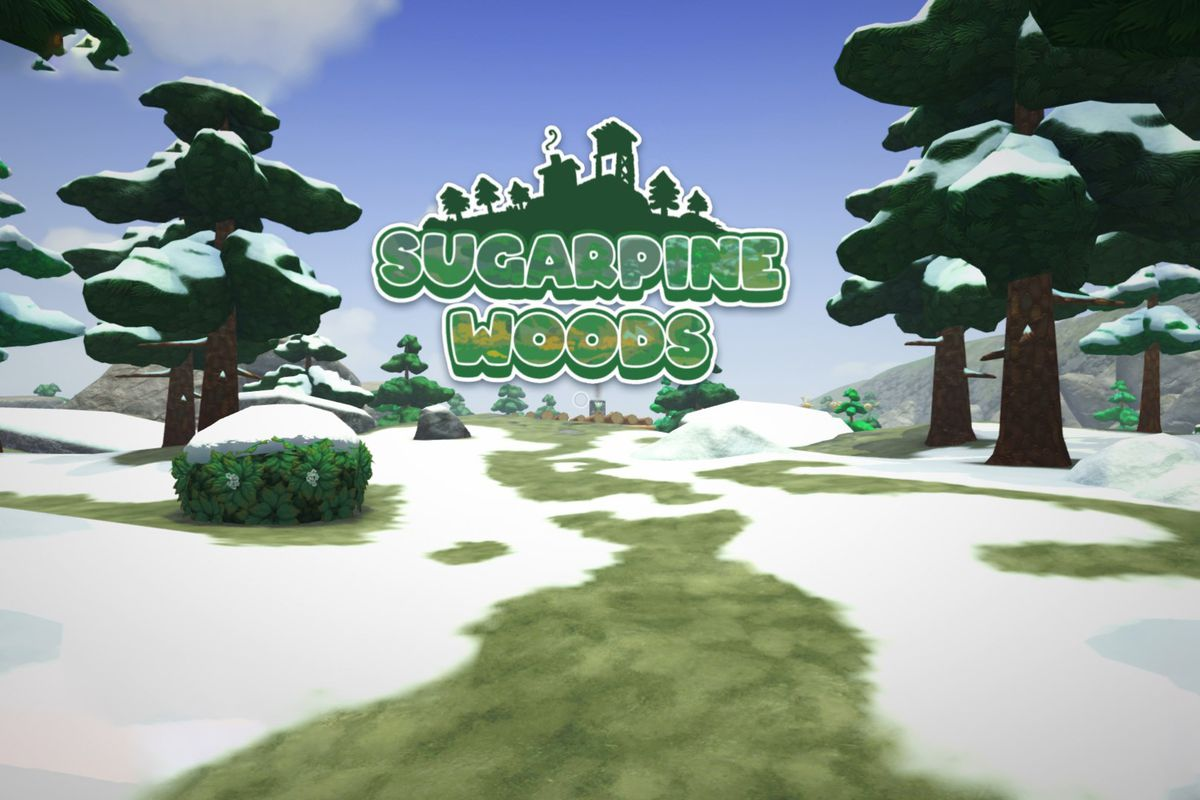 """Text that says """"Sugarpine Woods"""" over a snow-covered forest area"""