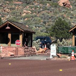 A federal government shutdown would close national parks such as Zion National Park.