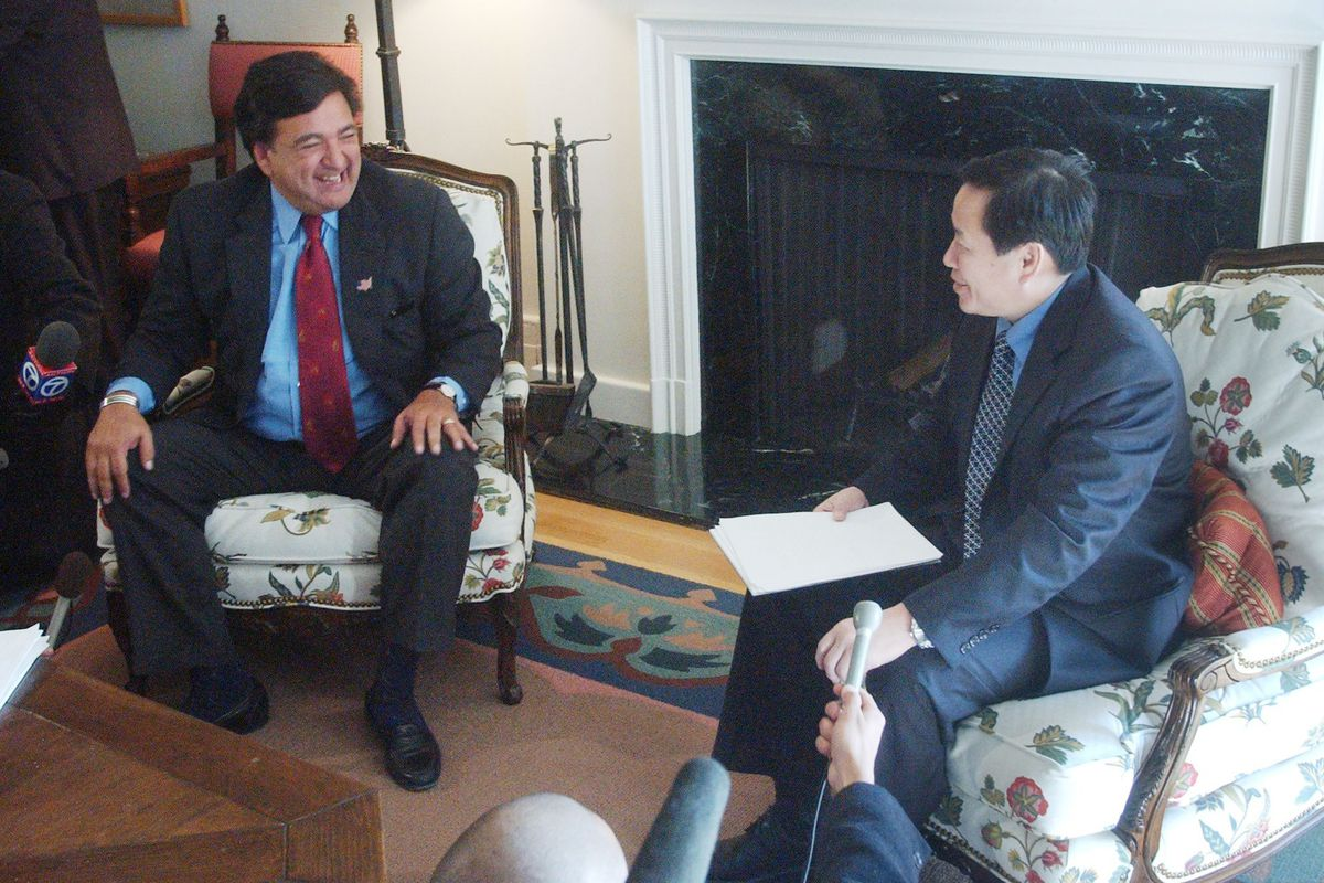 Former New Mexico Governor Bill Richardson meets with a North Korean official in 2003. Richardson has spent decades working to secure the release of American hostages from North Korea.