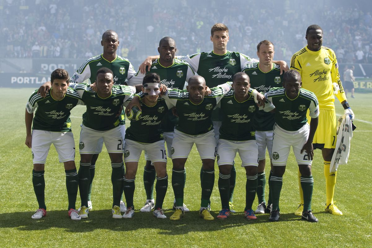 PORTLAND, OR - SEPTEMBER 15: Members of the starting eleven of the Portland Timbers pose before the game against the Seattle Sounders FC at Jeld-Wen Field on September 15, 2012 in Portland, Oregon. (Photo by Steve Dykes/Getty Images)