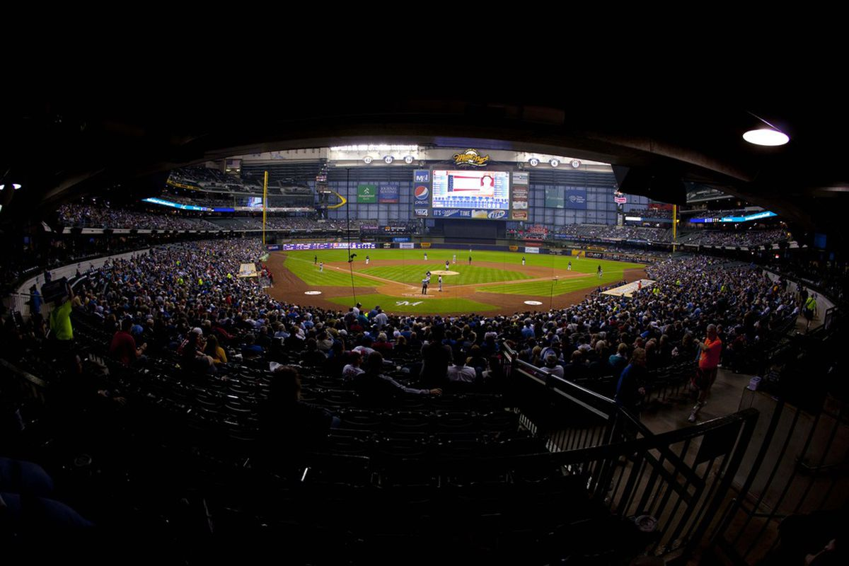 May 7, 2012: Milwaukee, WI, USA;  General view of Miller Park during the fourth inning of the game between the Cincinnati Reds and Milwaukee Brewers.  Mandatory Credit: Jeff Hanisch-US PRESSWIRE