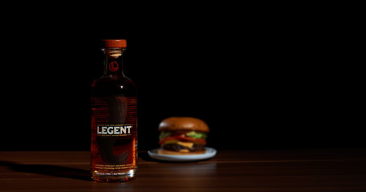 A bottle of Legion bourbon and a burger.