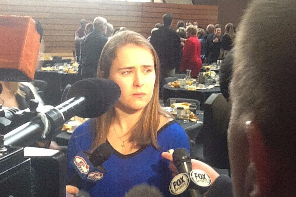 Carpenter meets the media after winning the Patty Kazmaier Award