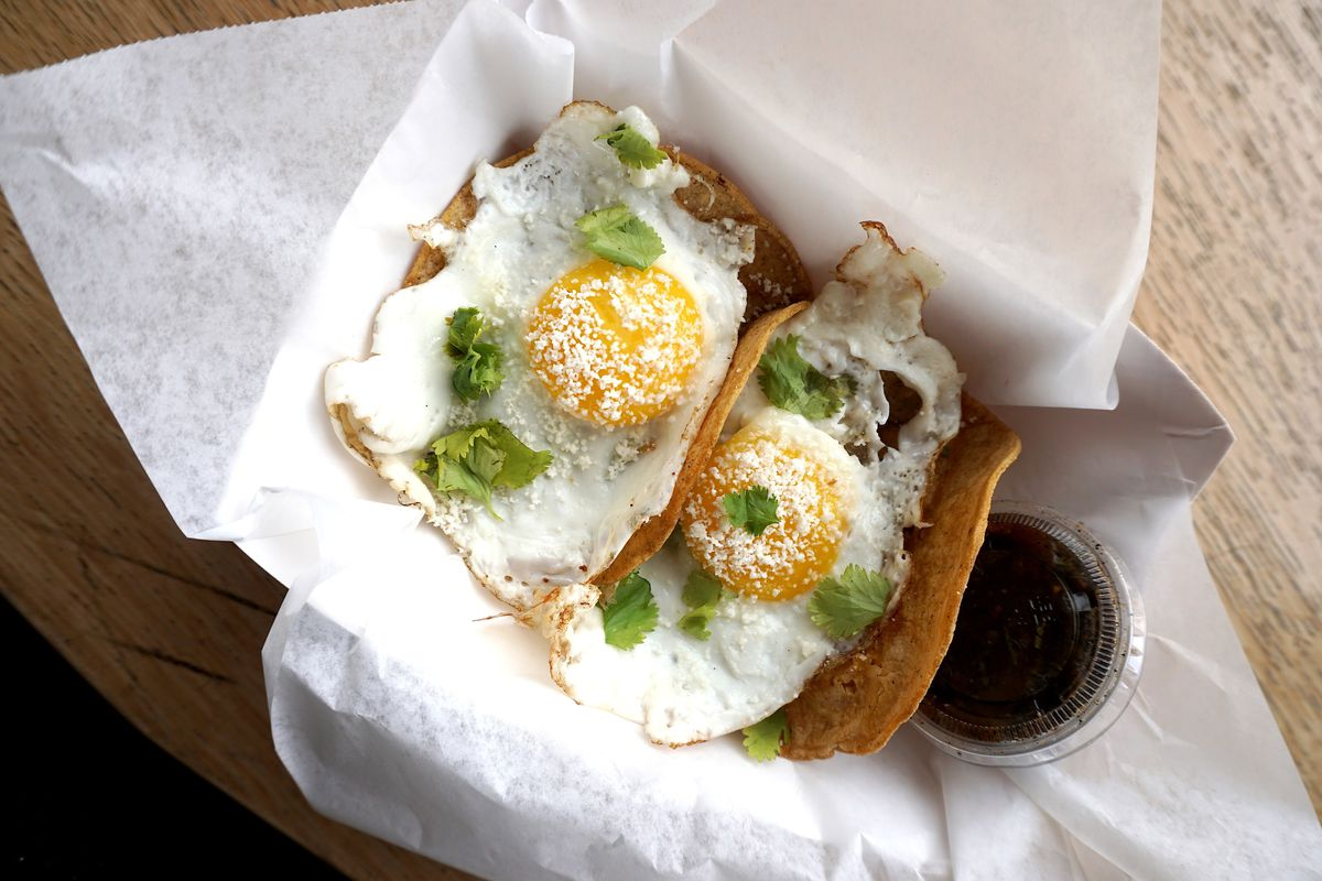 Breakfast tacos from The Rooster