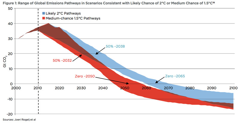 A chart showing carbon neutral and carbon negative scenarios.