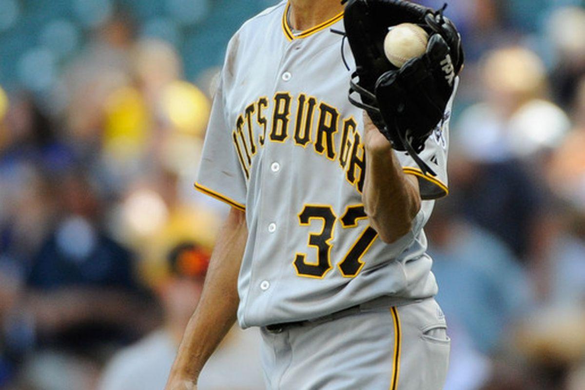 June 3, 2012; Milwaukee, WI, USA;   Pittsburgh Pirates pitcher Juan Cruz (37)  during the game against the Milwaukee Brewers at Miller Park.  Mandatory Credit: Benny Sieu-US PRESSWIRE
