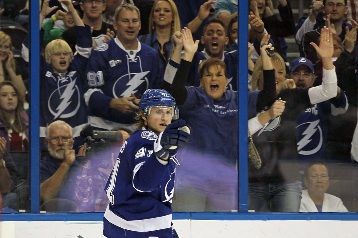 Steven Stamkos and the Tampa Bay Lightning resume their process of becoming on October 13th, 2012 against the Florida Panthers.  The 82 game schedule fo the Bolts was released on Thursday morning. (Photo by Bruce Bennett/Getty Images)
