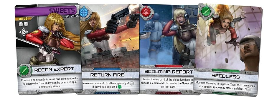 Contra: The Board Game Sweets Manson character cards
