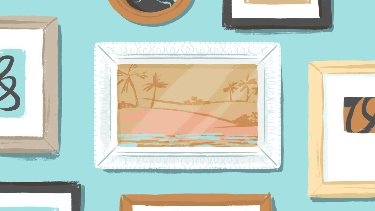 A gallery wall of frames arranged neatly. The central focus is a digital picture frame with an ornate border. Illustration.