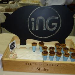 """Ing's take on the """"drumstick"""" with bacon ice cream and chocolate bacon magic shell topping"""