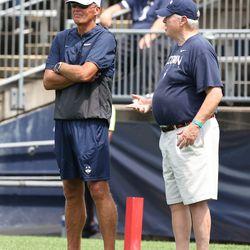 UConn head coach Randy Edsall during the Huskies open practice at Pratt & Whitney Stadium at Rentschler Field in East Hartford, CT on Saturday, August 14, 2021.