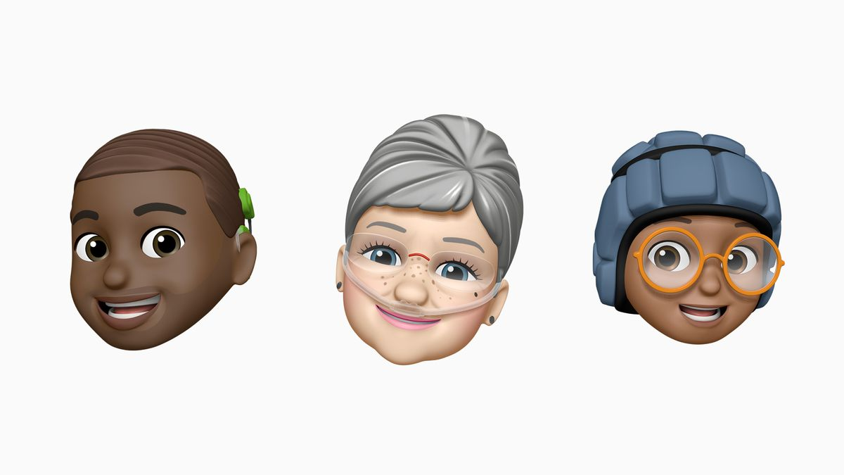 Three smiling Memojis, showing one with a cochlear implant on the left, one with nasal oxygen tubes in the center, and one with a soft helmet on the right.