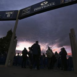 BYU fans enter LaVell Edwards Stadium in Provo on Saturday, Oct. 24, 2020.