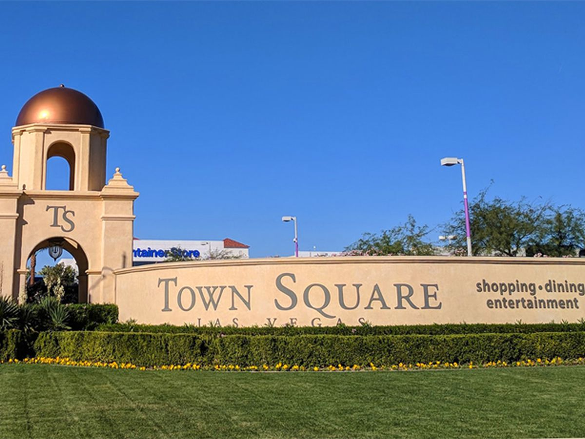 The entrance to the Town Square Las Vegas outdoor mall on Las Vegas Boulevard.