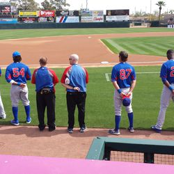 More Cubs lining up for the national anthem Sunday -