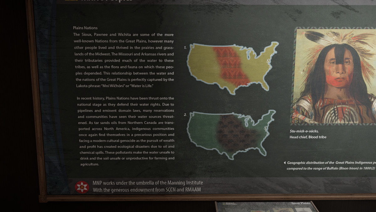 The Division 2 - a museum sign explains the issue of water rights for First Nations people in America