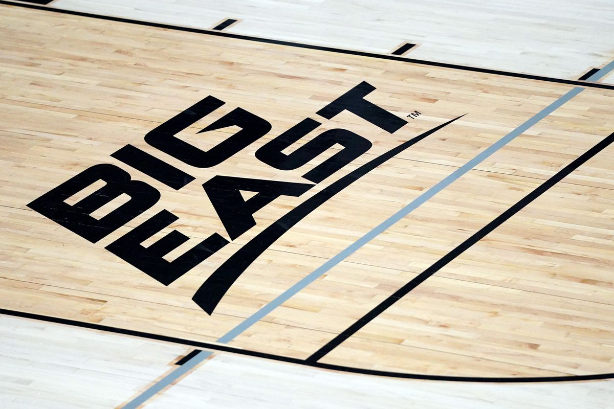 The Big East logo on the floor before a college basketball game between the Providence Friars and the Marquette Golden Eagles on January 27, 2021 at Alumni Hall in Providence, Rhode Island.