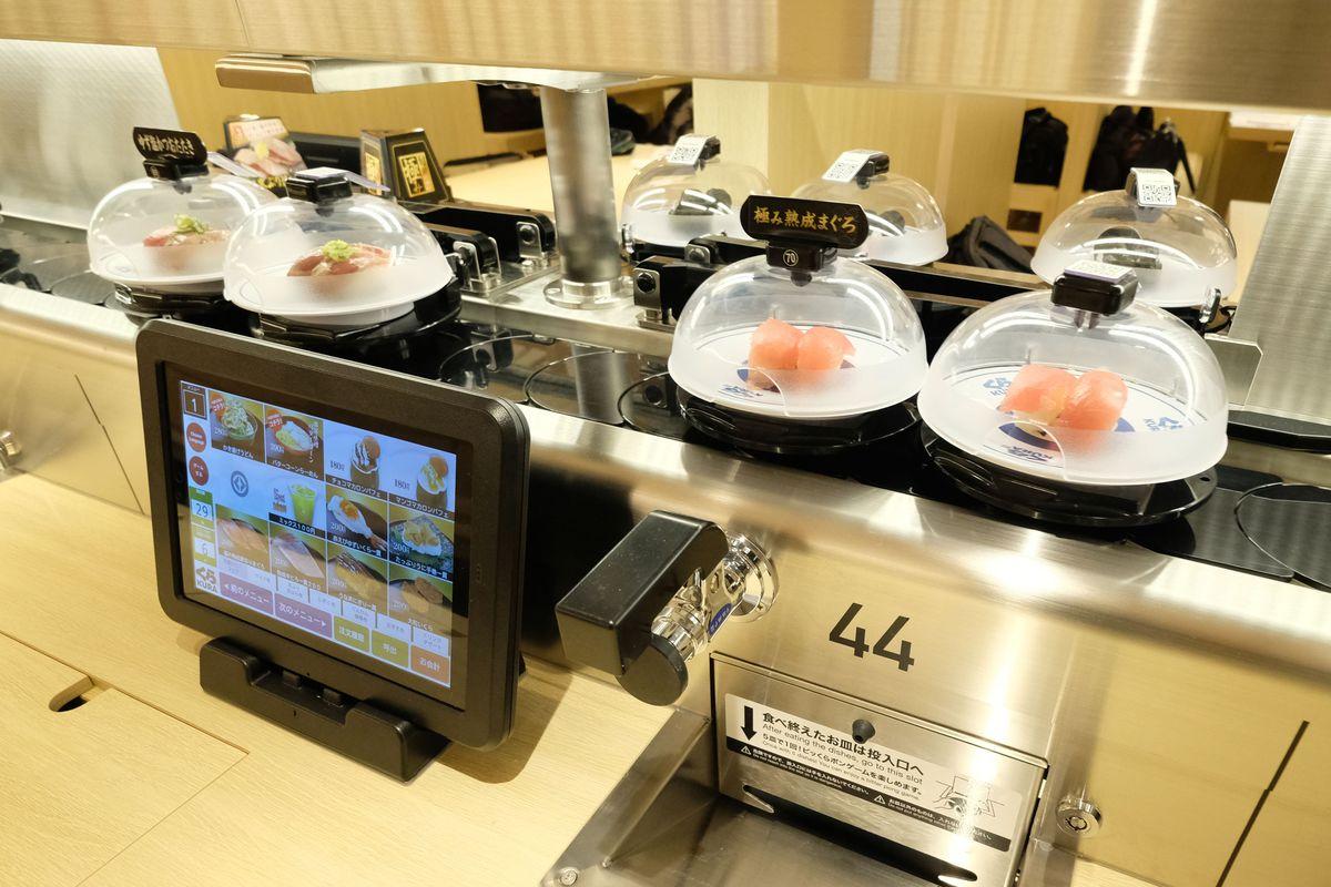 Kura Sushi, a conveyor belt restaurant chain, in Asakusa, Tokyo