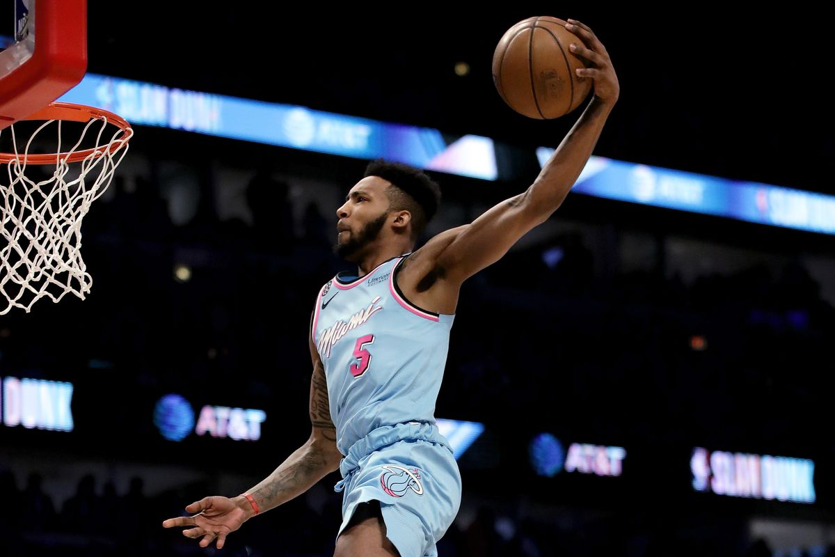 Derrick Jones Jr. #5 of the Miami Heat dunks the ball in the 2020 NBA All-Star - AT&T Slam Dunk Contest during State Farm All-Star Saturday Night at the United Center on February 15, 2020 in Chicago, Illinois.