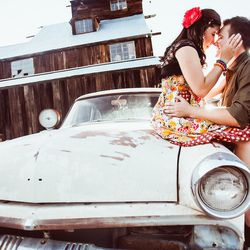 """<span class=""""credit""""><em>Engaged couple at Nelson, Nevada, ghost town [Photo: <a href=""""http://www.orchardgrovephoto.com"""">Orchard Grove Photography</a>]</em></span>"""