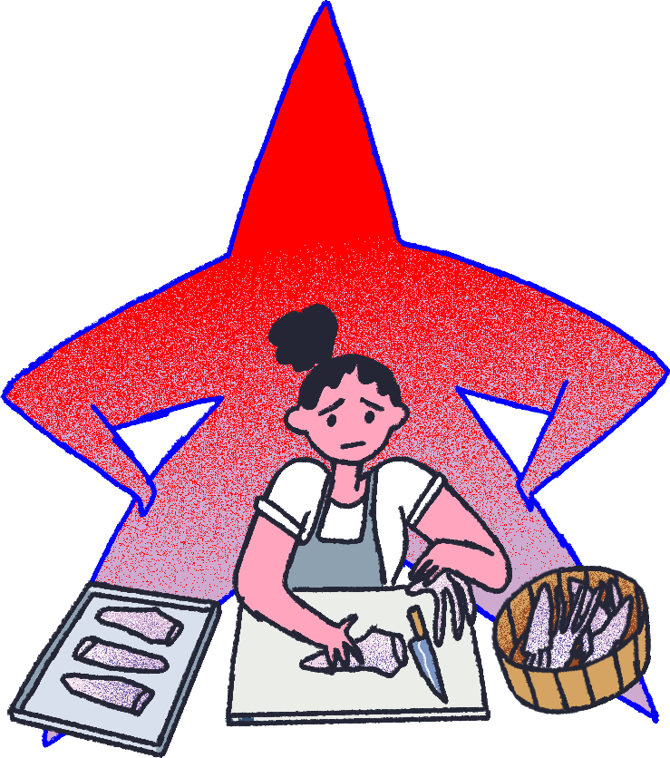 An illustration of a cook at a cutting board