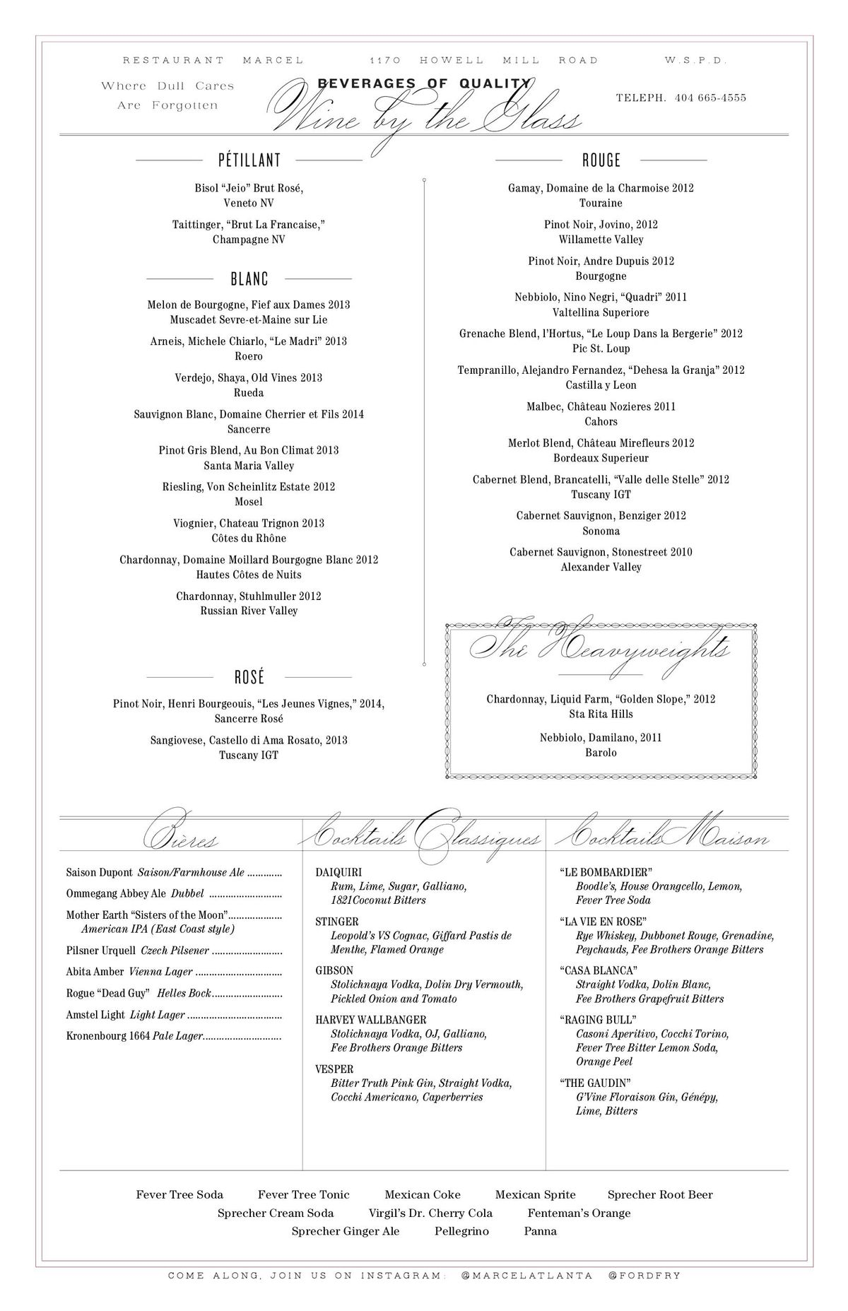 Ford Fry\'s Marcel Begins Service TODAY; Take a Look at the Menu ...