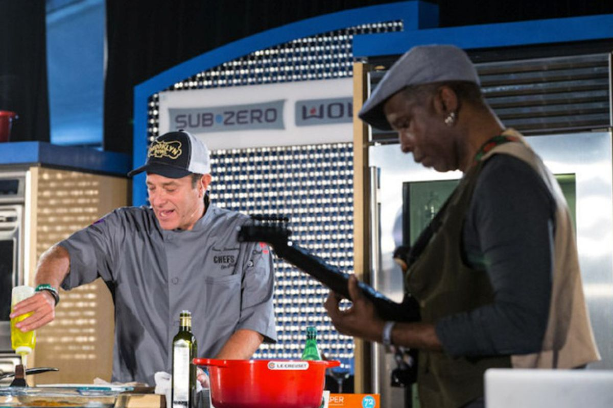Bruce Bromberg of Blue Ribbon Sushi Bar & Grill cooking with Vernon Reid of Living Colour.