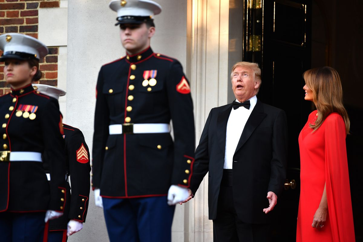Donald Trump's UK state visit continued at dinner with Prince Charles
