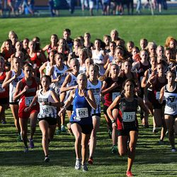 Runners start the 4A state girls high school cross-country championship in Cedar City on Wednesday, Oct. 21, 2020.