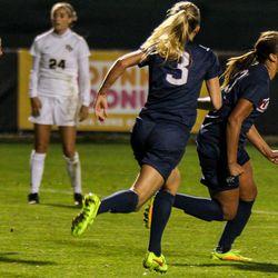 #13 Toriana Patterson celebrates her goal
