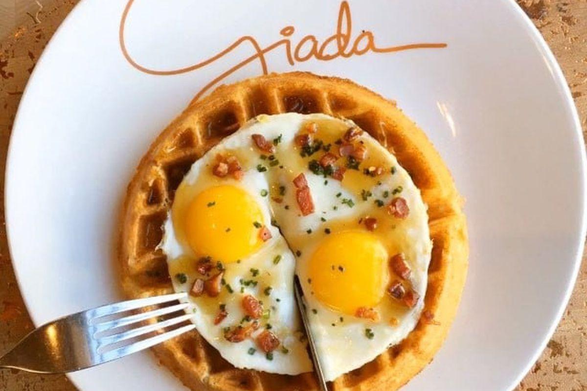 Sunrise polenta waffle with two eggs