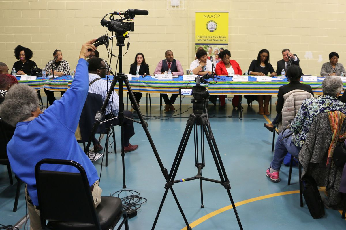 The candidates at a forum hosted by the Newark NAACP in March.