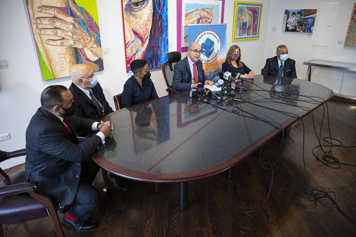 Pilsen Law Center's Arturo Jauregui requests that Mayor Lori Lightfoot and Chicago Police Superintendent David Brown review policies related to foot pursuits by police within the police department during a press conference.