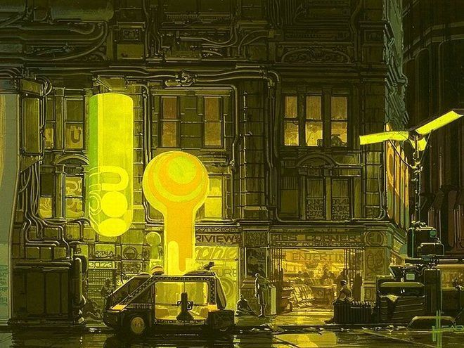 An illustration of a futuristic streetscape with robotic cabs and yellowish lighting.