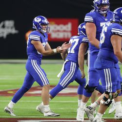 Brigham Young Cougars place kicker Justen Smith (37) makes a field goal during the Vegas Kickoff Classic in Las Vegas on Saturday, Sept. 4, 2021. BYU won 24-16.
