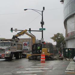 There was demolition work ongoing at the NW corner of Clark & Addison this day