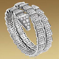 "<strong>Bulgari</strong> Serpenti 2-row bracelet in 18kt white gold with full pavé diamonds, <a href=""http://us.bulgari.com/productDetail.jsp?prod=BR855118"">$84,000</a>"